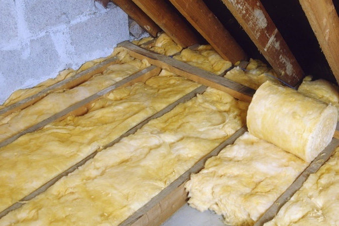 Fiberglass Insulation in Attic